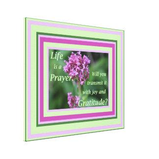 生命は祈りの言葉の花の写真のインスピレーションです キャンバスプリント