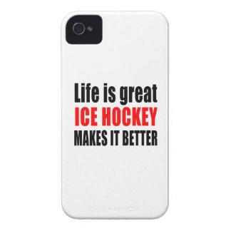 生命は素晴らしいアイスホッケーさせますそれをよりよくです Case-Mate iPhone 4 ケース