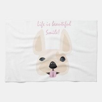 生命は美しいです! スマイル! キッチンタオル