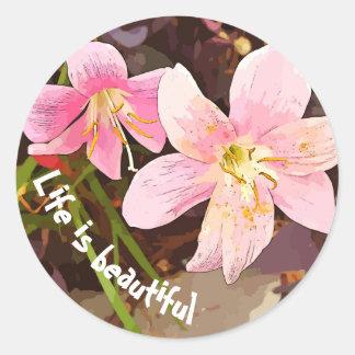 生命は美しいピンクユリのステッカーです ラウンドシール