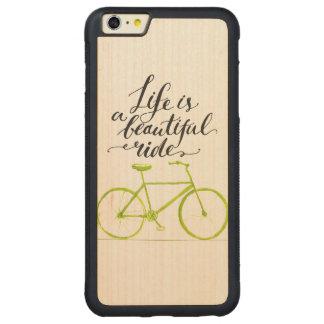 生命は美しい乗車のライムグリーンです CarvedメープルiPhone 6 PLUSバンパーケース