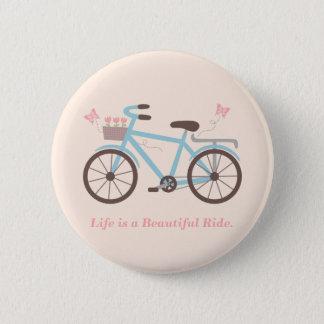 生命は美しい乗車の自転車の引用文ボタンです 5.7CM 丸型バッジ