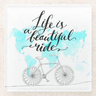 生命は美しい乗車の青です ガラスコースター