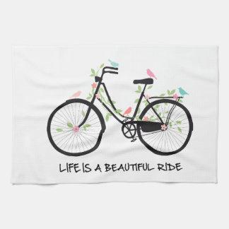 生命は美しい乗車、ヴィンテージの自転車です キッチンタオル