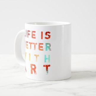 生命は芸術とよりよいです ジャンボコーヒーマグカップ
