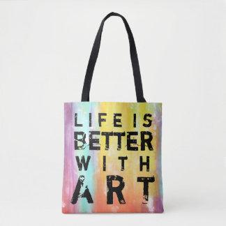 生命は芸術のカラフルの背景とよりよいです トートバッグ