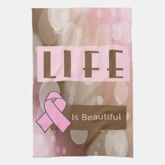 生命はBeautiifulの乳癌の生存者です キッチンタオル