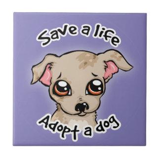 生命を救って下さい。 犬の子犬のロゴを採用して下さい タイル