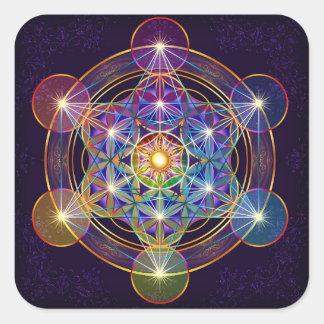 生命ステッカーの花が付いているMetatronの立方体 スクエアシール