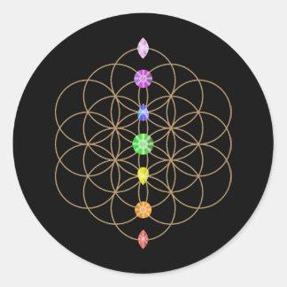 生命チャクラによって着色される石の花 ラウンドシール