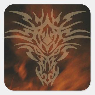 生命ドラゴンのヘッドステッカーの火 スクエアシール