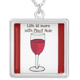 """""""生命ピノー(赤)ワイン""""の赤ワインのプリントとの多くです シルバープレートネックレス"""