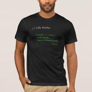 生命モットー-コードされたライフスタイル Tシャツ