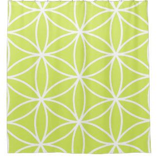 生命ライムの大きいパターン白の花 シャワーカーテン