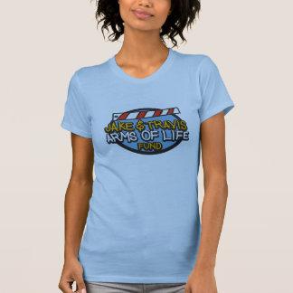 生命ワイシャツの女性中型の淡いブルーの腕 Tシャツ