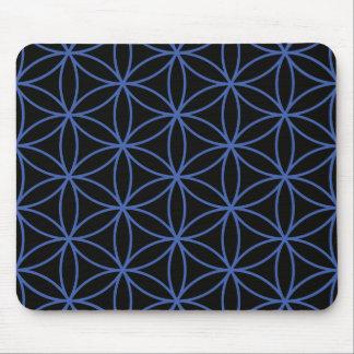 生命大きいパターン-黒の青の花 マウスパッド
