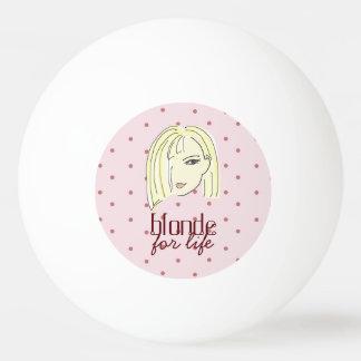 生命女の子のポートレートの水玉模様のピンクの上品のためのブロンドの女性 卓球ボール