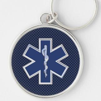 生命救急医療隊員カーボン繊維のスタイルの星 キーホルダー