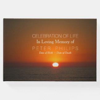 生命来客名簿の日没そして海のお祝い ゲストブック
