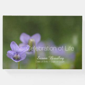 生命来客名簿の野生のバイオレットのお祝い ゲストブック