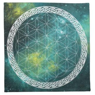 生命水晶格子布のケルト族の宇宙花 ナプキンクロス