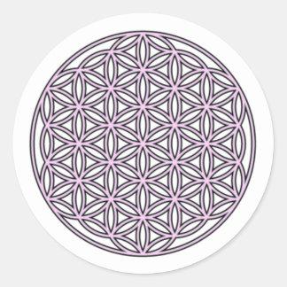 生命独身のなピンクの花 丸型シール