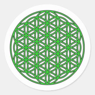 生命独身のな緑の花 ラウンドシール