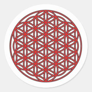 生命独身のな赤の花 ラウンドシール