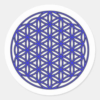 生命独身のな青の花 ラウンドシール
