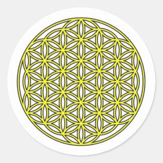 生命独身のな黄色の花 ラウンドシール