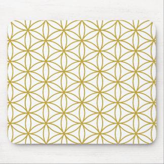 生命白の大きいPtnの金ゴールドの花 マウスパッド