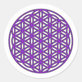 生命紫色の花 ラウンドシール