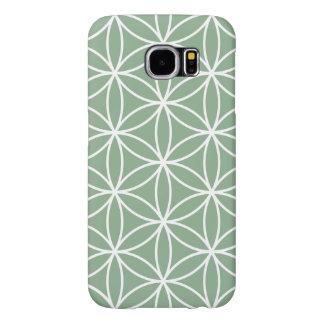 生命緑の大きいパターン白の花 SAMSUNG GALAXY S6 ケース