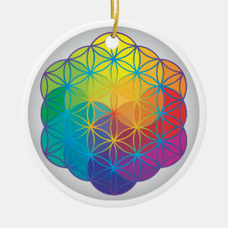 生命虹の花は調和エネルギーを着色します セラミックオーナメント