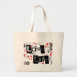 生命黒、赤、ハート、点の文字のトートバックを愛して下さい ラージトートバッグ