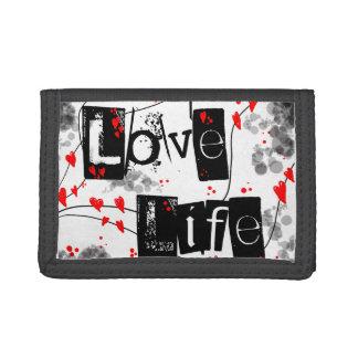 生命黒、赤、ハート、点の文字の財布を愛して下さい