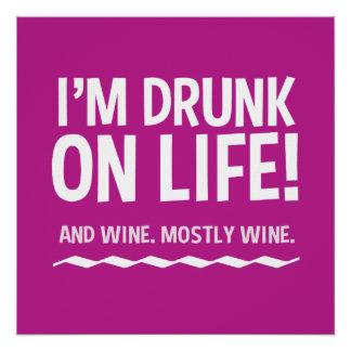 生命…およびワインポスターで飲まれるおもしろい ポスター