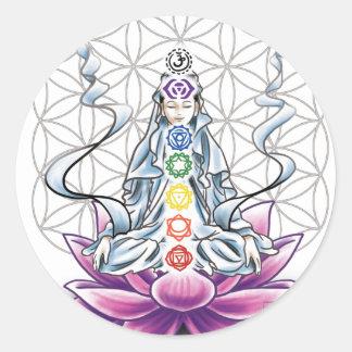 生命、チャクラ、女神のステッカーの花 ラウンドシール