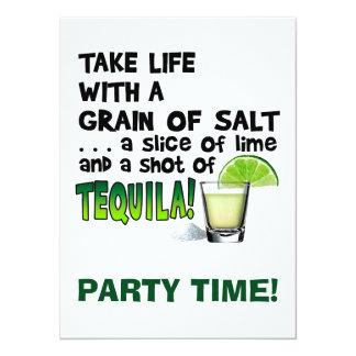 生命、ライム、塩、テキーラ! カクテルのユーモア カード
