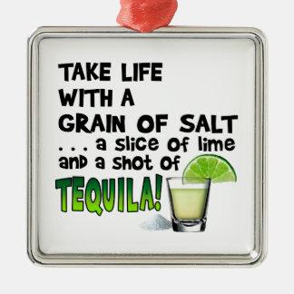 生命、ライム、塩、テキーラ! カクテルのユーモア メタルオーナメント