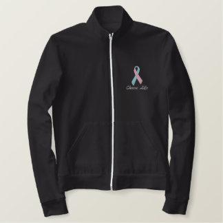 生命、妊娠中絶反対のジャケットを、ピンクおよび一流選んで下さい 刺繍入りジャケット