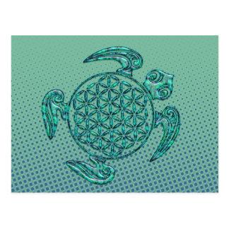 生命/Blume des Lebensのの花カメのターコイズ ポストカード