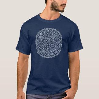 生命/Blume des Lebensの花-白の輪郭を描いて下さい Tシャツ