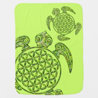 生命/Blume des Lebens -カメの緑の花 ベビー ブランケット