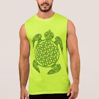 生命/Blume des Lebens -カメの緑の花 袖なしシャツ