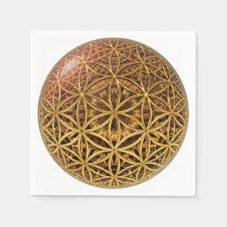 生命/Blume des Lebens -球の格子金ゴールドの花 スタンダードカクテルナプキン