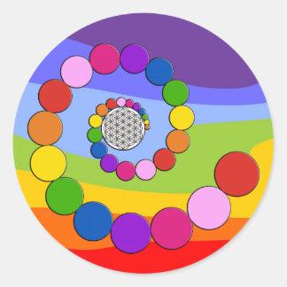 生命/Blume des Lebens -螺線形の点の花 ラウンドシール