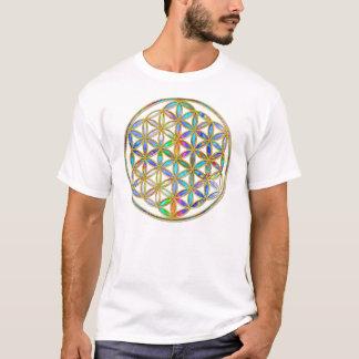 生命/Blume des Lebens -金ゴールドのカラフルの花 Tシャツ