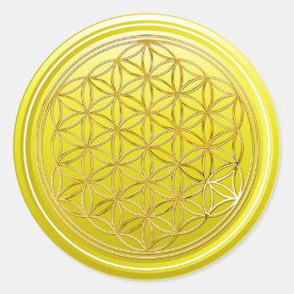 生命/Blume des Lebens -金ゴールドの黄色の花 ラウンドシール