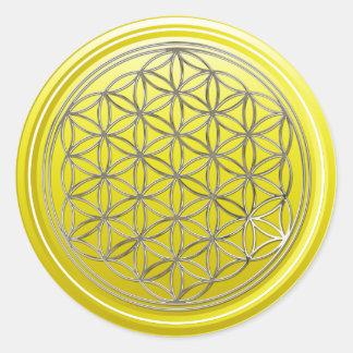 生命/Blume des Lebens -銀製の黄色の花 ラウンドシール